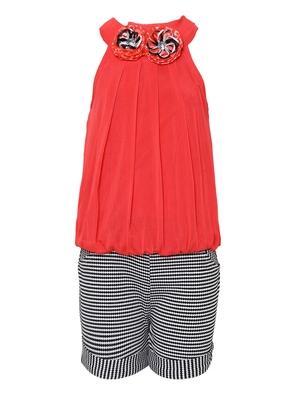 Red plain nylon girls-top-bottom