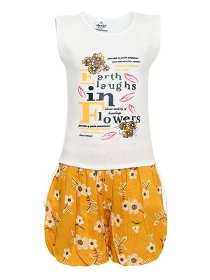 Yellow plain cotton girls-top-bottom