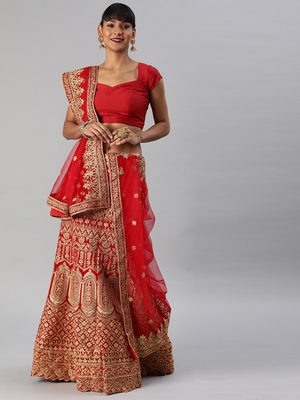 Red Gold Toned Embellished Semi Stitched & UnStitched Blouse