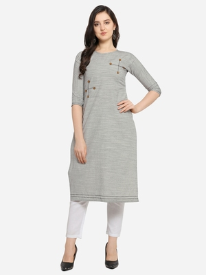 Grey Color Straight Kurta