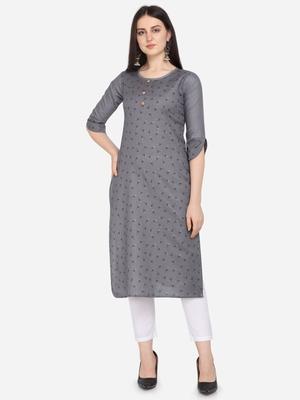 Grey Color printed Straight Kurta
