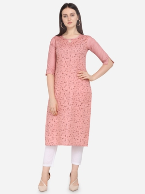 Pink Color printed Straight Kurta
