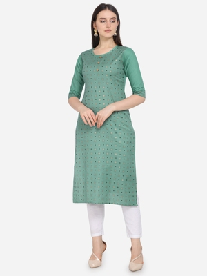 Sea Green Color printed Straight Kurta