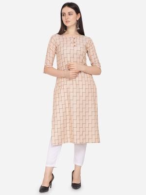 Beige color cotton blend straight kurta