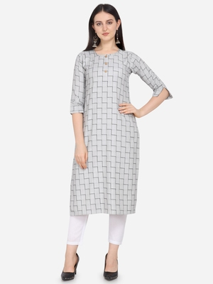 Grey Color Cotton Blend Straight Kurta