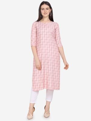 Pink Color Cotton Blend Straight Kurta