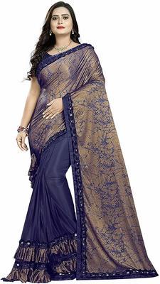 Women's Blue Dhupian Foil Designer Saree