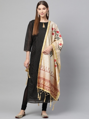 Sutram Bamboo Buti Silk Cream Digital Printed Dupatta