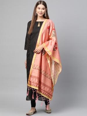 Sutram Bamboo Buti Silk Peach Digital Printed Dupatta