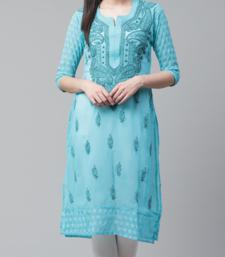 Lucknowi Chikan Kurti Hakoba Style Blue