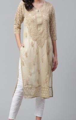 Lucknowi Chikan Kurti Hakoba Style Brown
