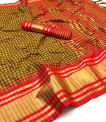 Buy YELLOW AND  RED WOVEN ART SILK SAREE WITH BLOUSE