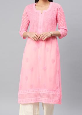 Lucknowi Chikan Kurti Hakoba Style Pink