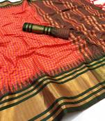 Buy PINK  AND GREEN WOVEN ART SILK SAREE WITH BLOUSE