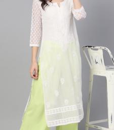 Lucknowi Chikan Kurti Hakoba Style WHITE