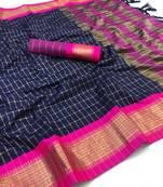 Buy navy blue woven art silk saree with blouse