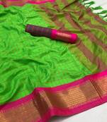 Buy  parrot green woven art silk saree with blouse