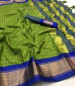 Buy  dark sea green woven art silk saree with blouse