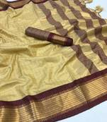 Buy  beige woven art silk saree with blouse