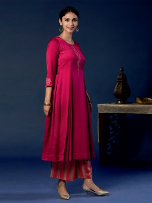 Red plain satin ethnic-kurtis