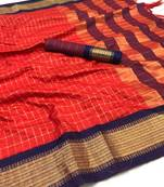 Buy red woven art silk saree with blouse