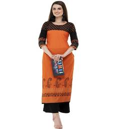 Cotton orange Straight Block Printed Kurta