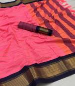 Buy  light pink woven art silk saree with blouse