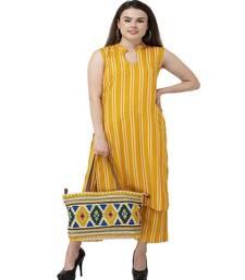 Yellow Striped kurta palazzo set
