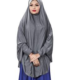 Justkartit Bluish Grey Stitched Jersey Stretchable Islamic Chaderi Hijab With Veil And Sleeves
