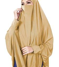 Justkartit Beige Color Stitched Jersey Stretchable Islamic Chaderi Hijab With Veil And Sleeves