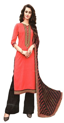 peach embroidered cotton Unstitched trouser with dupatta