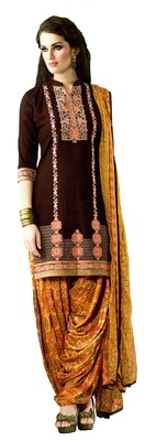 brown embroidered cotton Unstitched patiala salwar with dupatta