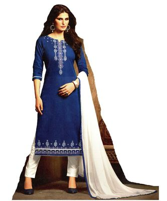 blue embroidered cotton Unstitched trouser with dupatta