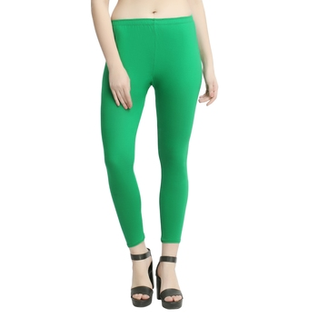 Parrot-green plain cotton leggings
