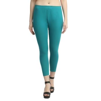 Sea-green plain cotton leggings