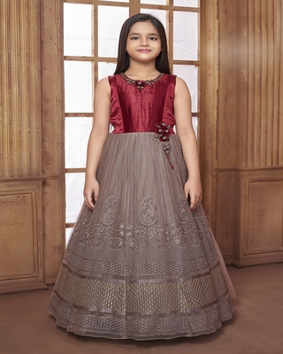 Maroon embroidered polyester kids-girl-gowns