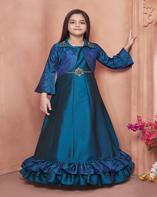 Green embroidered polyester kids-girl-gowns