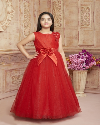 Red embroidered polyester kids-girl-gowns