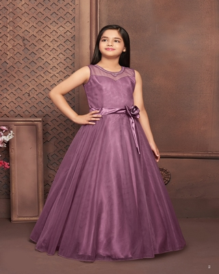 purple embroidered polyester kids-girl-gowns