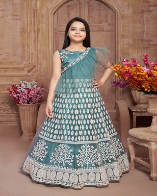 multicolor embroidered polyester kids-girl-gowns