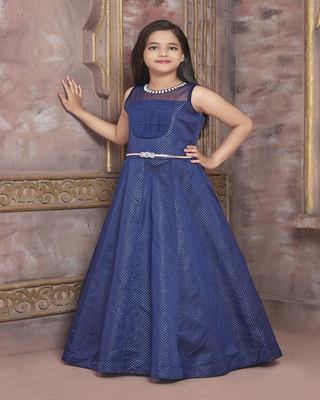 Blue embroidered polyester kids-girl-gowns