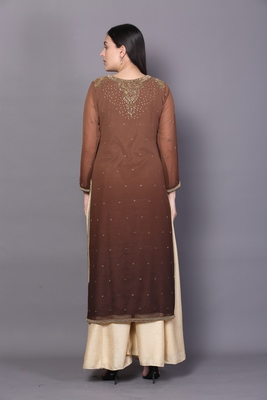 Brown embroidered georgette ethnic-kurtis