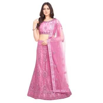 Women'S Pink Semi Stiched Embroidered Net Lehenga Choli