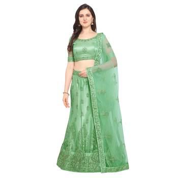 Women'S Light Green Semi Stiched Embroidered Net Lehenga Choli