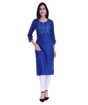 Women's  Royal Blue Rayon Embroidered Straight Kurta
