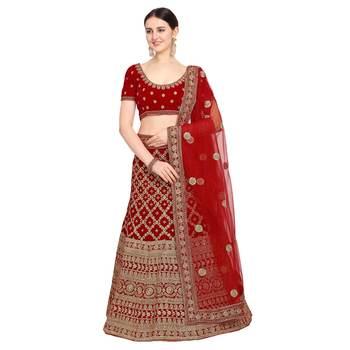 Women'S Red Semi Stiched Embroidered Velvet Lehenga Choli