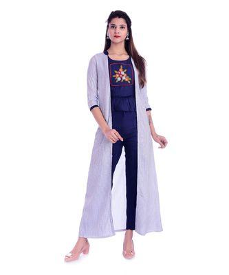 Women's  Navy Blue Rayon Embroidered Straight Kurti, Palazzo & Jacket Set