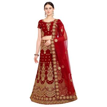 Women'S Red Semi Stiched Embroidered Velvet Lehenga Choli