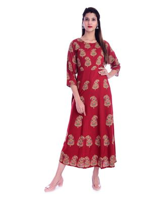 Women's  Red Rayon Embroidered A-line Kurta
