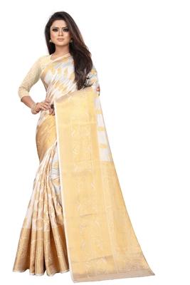 white woven banarasi saree with blouse